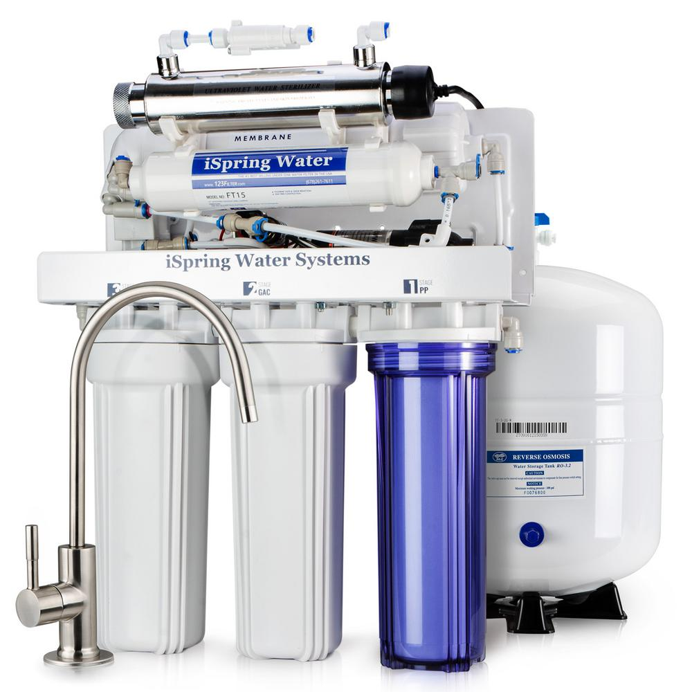 Ispring 6 Stage Under Sink Reverse Osmosis Drinking Water Filtration System With Booster Pump And Uv Filter 100gpd Rcc1up The Home Depot Reverse Osmosis Water Filter Reverse Osmosis Reverse Osmosis System