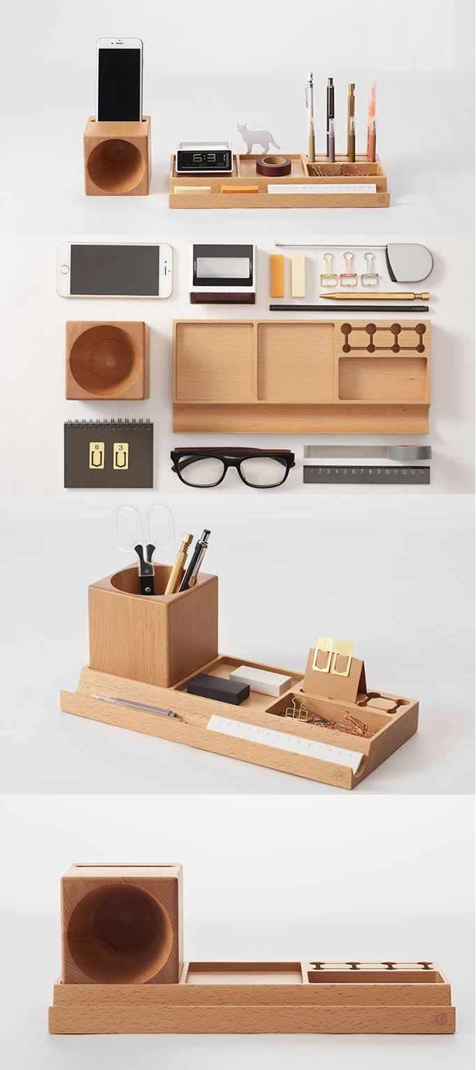 Wooden Office Desk Stationery Organizer Pen Pencil Holder Stationery Storage Box Smart Phone