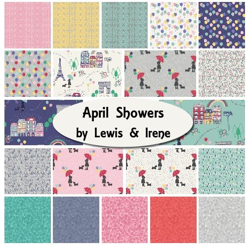 April Showers is the new spring collection from Lewis & Irene. The fat quarter bundle contains 20 fat quarters measuring 50cm x 55cm. It is 100% cotton quilting weight fabric.