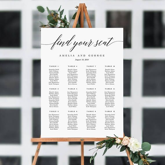 sizes wedding seating chart template editable table poster sign pdf instant download modern script find your seat also rh pinterest