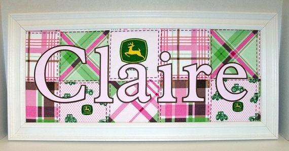 Pink John Deere Girls Decor Personalized By Memoreasykeepsakes - John deere idees de decoration de chambre