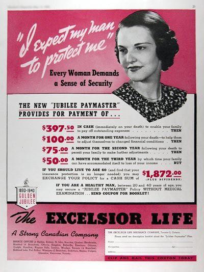 1940 Excelsior Life Insurance Original Vintage Ad Insurance Ads