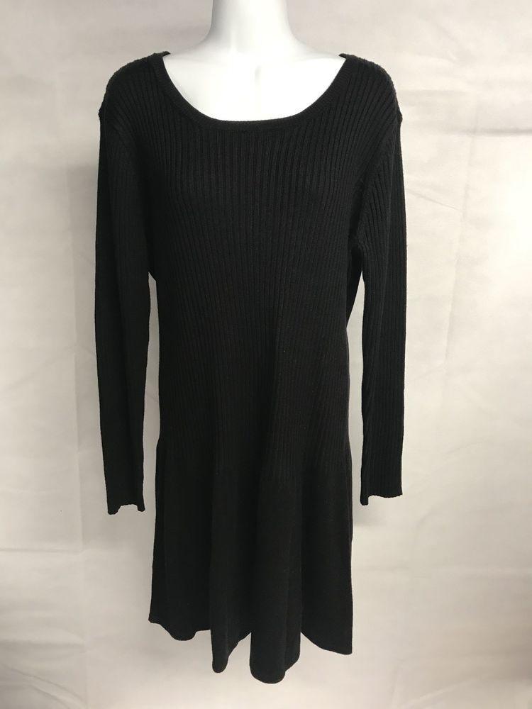 41e9ca67900 Calvin Klein Womens Plus Size Solid Black Long Sleeve Knit Sweater Dress XL   CalvinKlein  SweaterDress
