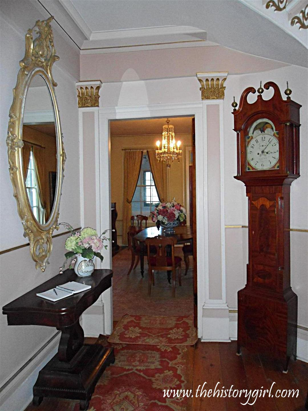 The main foyer of the 1845 Doric House in Flemington. The home is headquarters to the Hunterdon County Historical Society. The home was built in the Greek Revival style by Mahlon Fisher, an architect/builder of the time, whose work can be seen at three other buildings in Flemington. Throughout its history, this building served as an Odd Fellow Hall, restaurant, and was used by a church before being purchased in 1969 by the Society and restored. Discover more history @ www.thehistorygirl.com