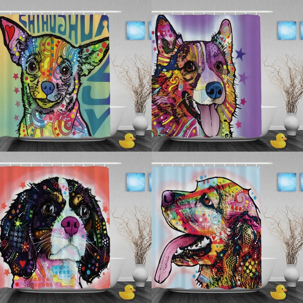 Lovely Pet Chihuahua Shower Curtain Art Dog Bathroom Shower