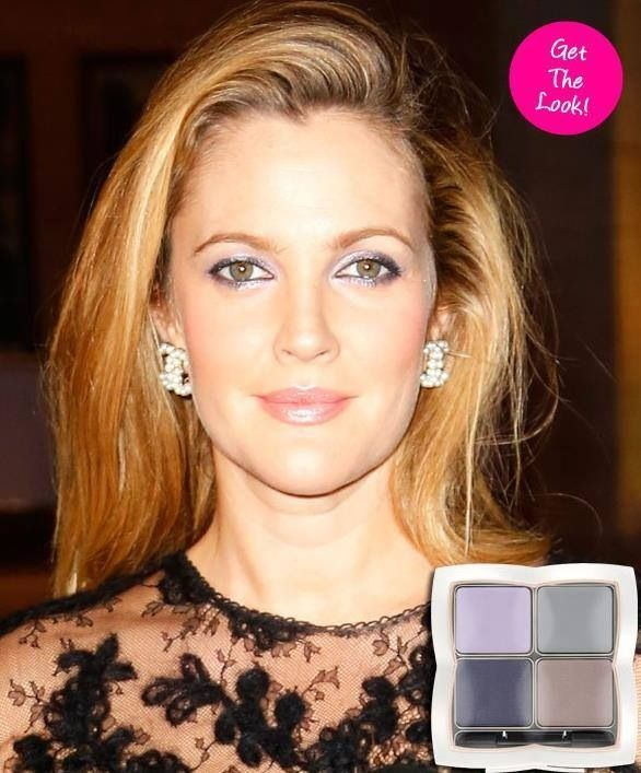 "Drew Barrymore's FLOWER cosmetics: Eyes - shadow play eye quad ""Face the Grey"" Lips - kiss stick high shine lip color ""Sweet Peony"""