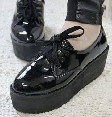 Black Patent shiny platform sneaker