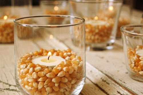 easy and cheap table decorations for Thanksgiving :)