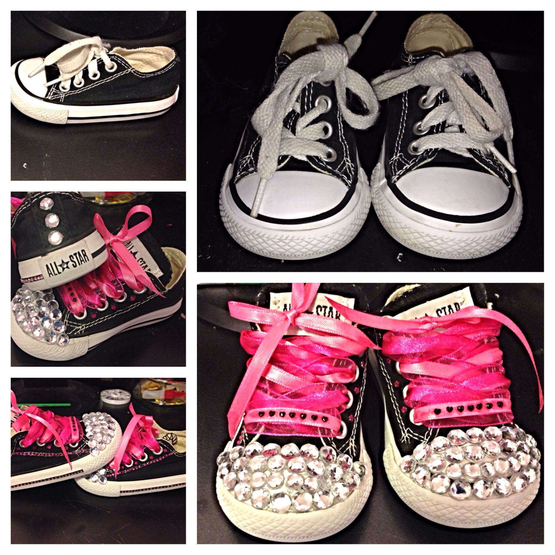 ceb6a0449919 Thrift store  7 Baby girl shoes chucks rhinestones bedazzle sparkle all  star converse black pink DIY
