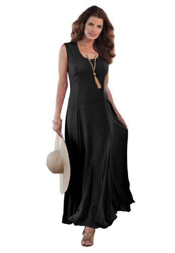 c58c6a0565f57 Roamans Women's Plus Size A Line Crinkle Maxi Dress (Black,1X) Roamans http