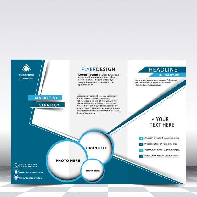 Diseño de tríptico de negocios azul Vector Gratis Ideas de Formato