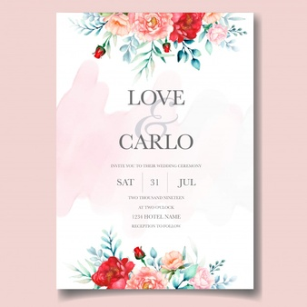 Elegant Wedding Invitation Cards Template With Watercolor