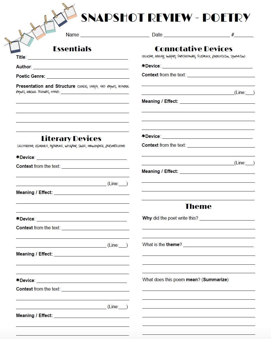 worksheet Identifying Poetic Devices Worksheet review poetry in a snap with this one page worksheet intended to help students reflect