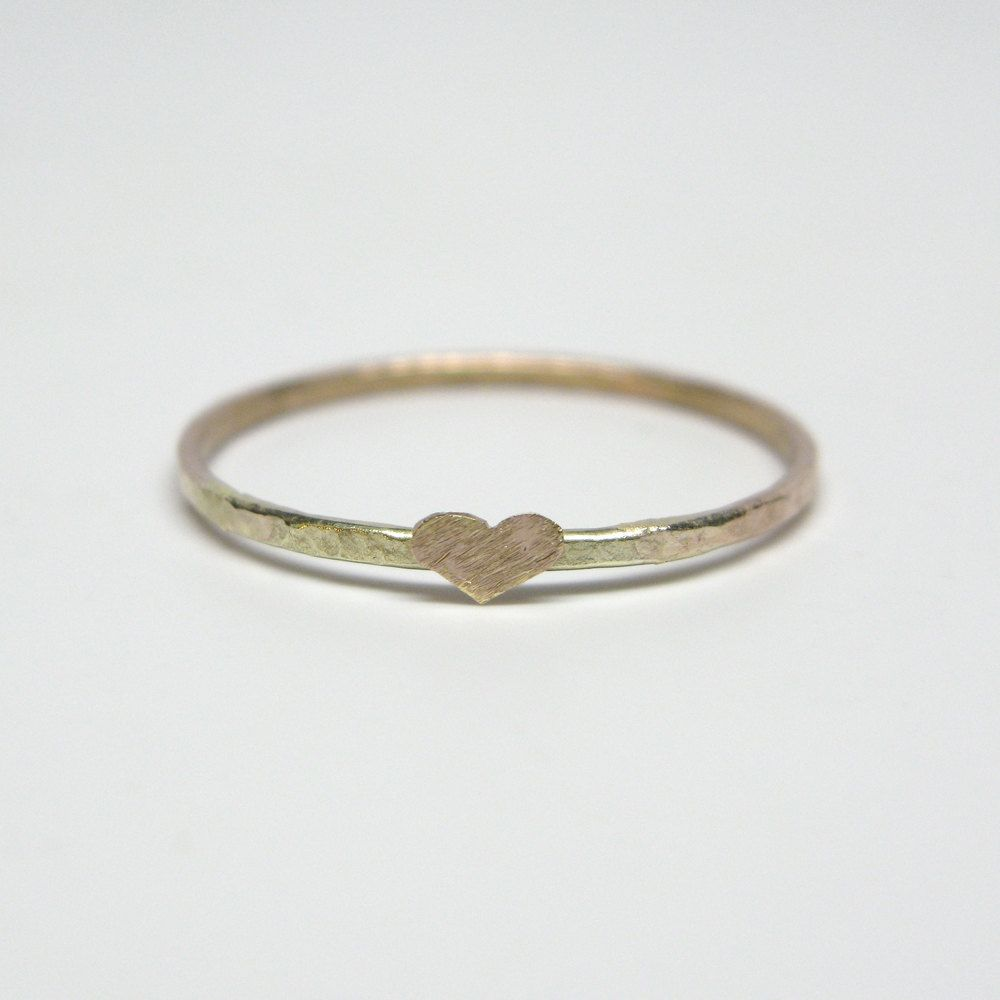 Recycled Forged 10k Gold Nugget Band Ring With Tiny Textured Heart Band Rings Simple Ring Design 10k Gold