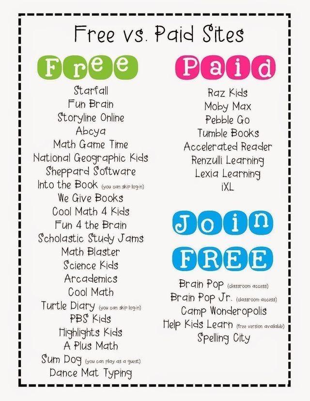 Freepaid Sites First Grade Fun Pinterest Education Classroom