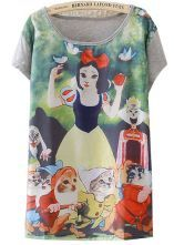 Grey Short Sleeve Snow White Print Loose T-Shirt
