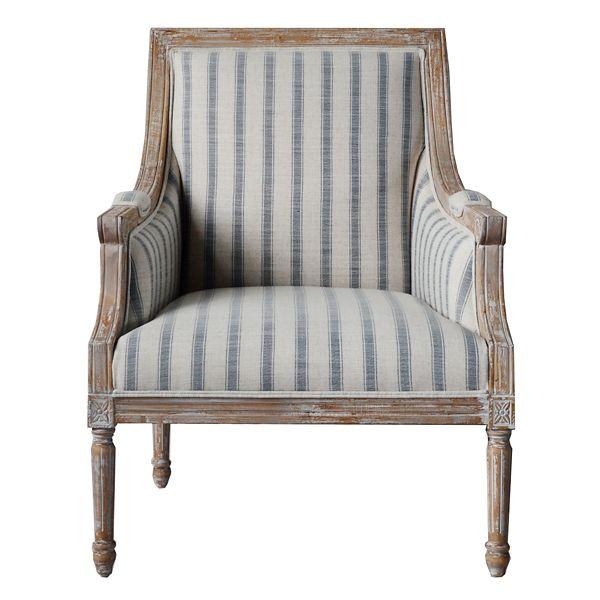 Best Mckenna Blue Striped Accent Chair Wood Dust Wood 400 x 300