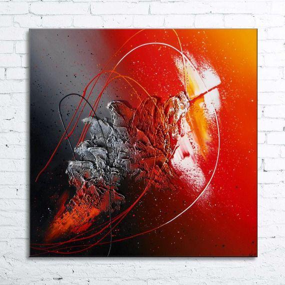 """abstrait contemporain """"hyades"""" peinture moderne acrylique toile en"""