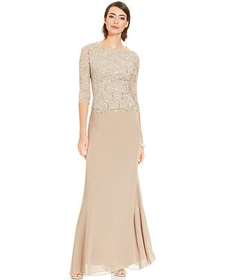 ced3d80260e Alex Evenings Elbow-Sleeve Sequined Lace Gown - Dresses - Women - Macy s  --- comes in navy too