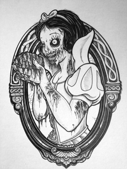 sick tattoo design - snow white zombie, hungry for brains. #tattoo