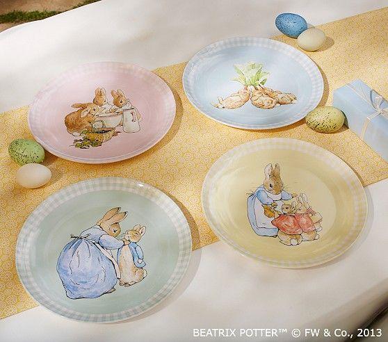 Peter Rabbit Plate Set Pottery Barn Kids Peter Rabbit