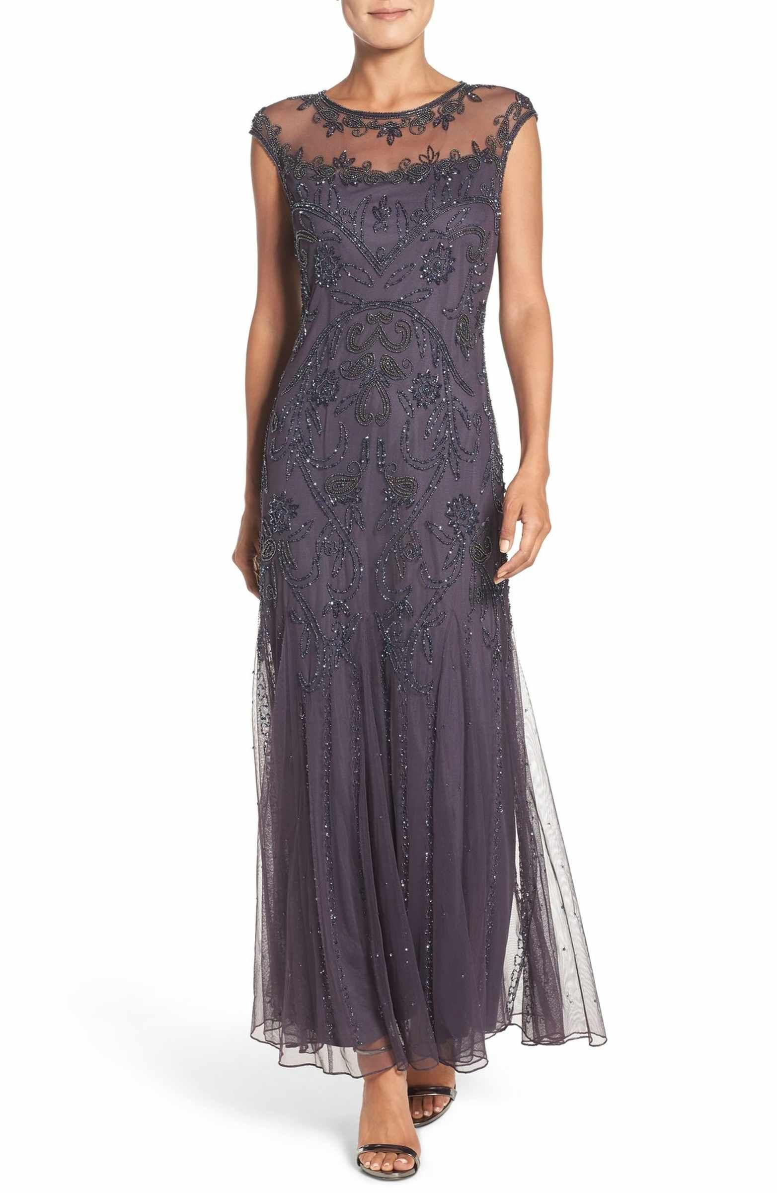 Main Image - Pisarro Nights Embellished Mesh Gown (Regular & Petite ...