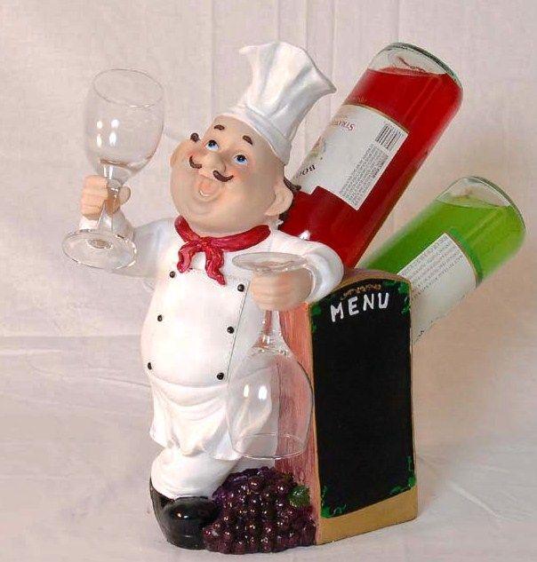 Marcel Home Decor Gift Chef 2 Bottle Wine Holder W/glass