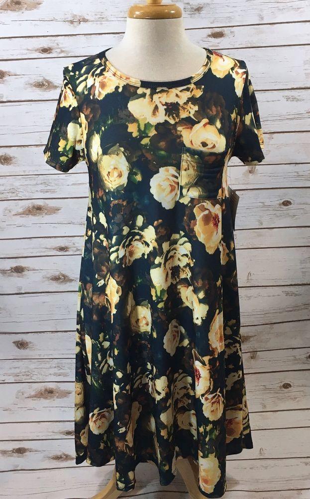 36e51e6972e2 NWT LulaRoe Carly Dress Womens XXS Blue Floral Peony Rose Print Rare Unicorn!  | eBay