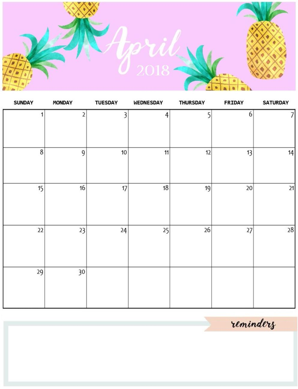 image relating to Cute Calendars known as Lovable April 2018 Calendar Template calendars Lovely