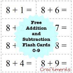 photograph regarding Subtraction Flash Cards Printable identify Craftiments: No cost Printable Addition and Subtraction Flash