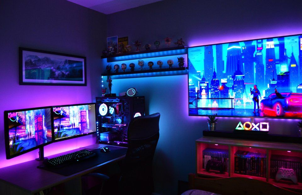 https://www.reddit.com/r/battlestations/comments/bm3vf0/my_battlestation_4_years_in_the_making_feel_f…  | Video game rooms, Video game room design, Gaming room setup