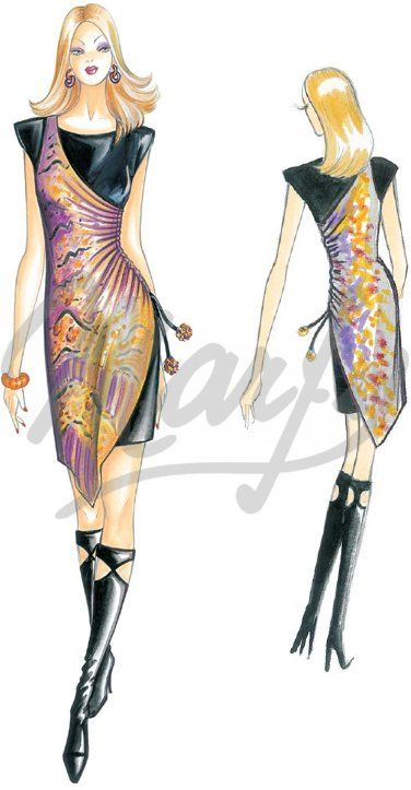 Model 2473 | Sewing Pattern Dress This double-ayer dress has an interplay  of asymmetries. The underlying layer is a mini sheath dress with padded  shoulders.