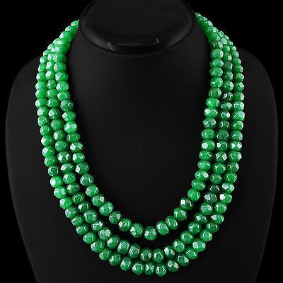 Awesome 825.00 Cts Earth Mined Rich Green Emerald 3 Line Faceted Beads Necklace