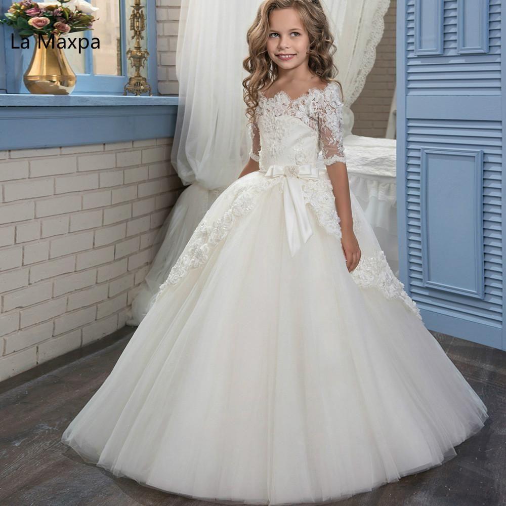 New White Flowers Lace Retro Girls Tutu Long Beautiful Dress Long