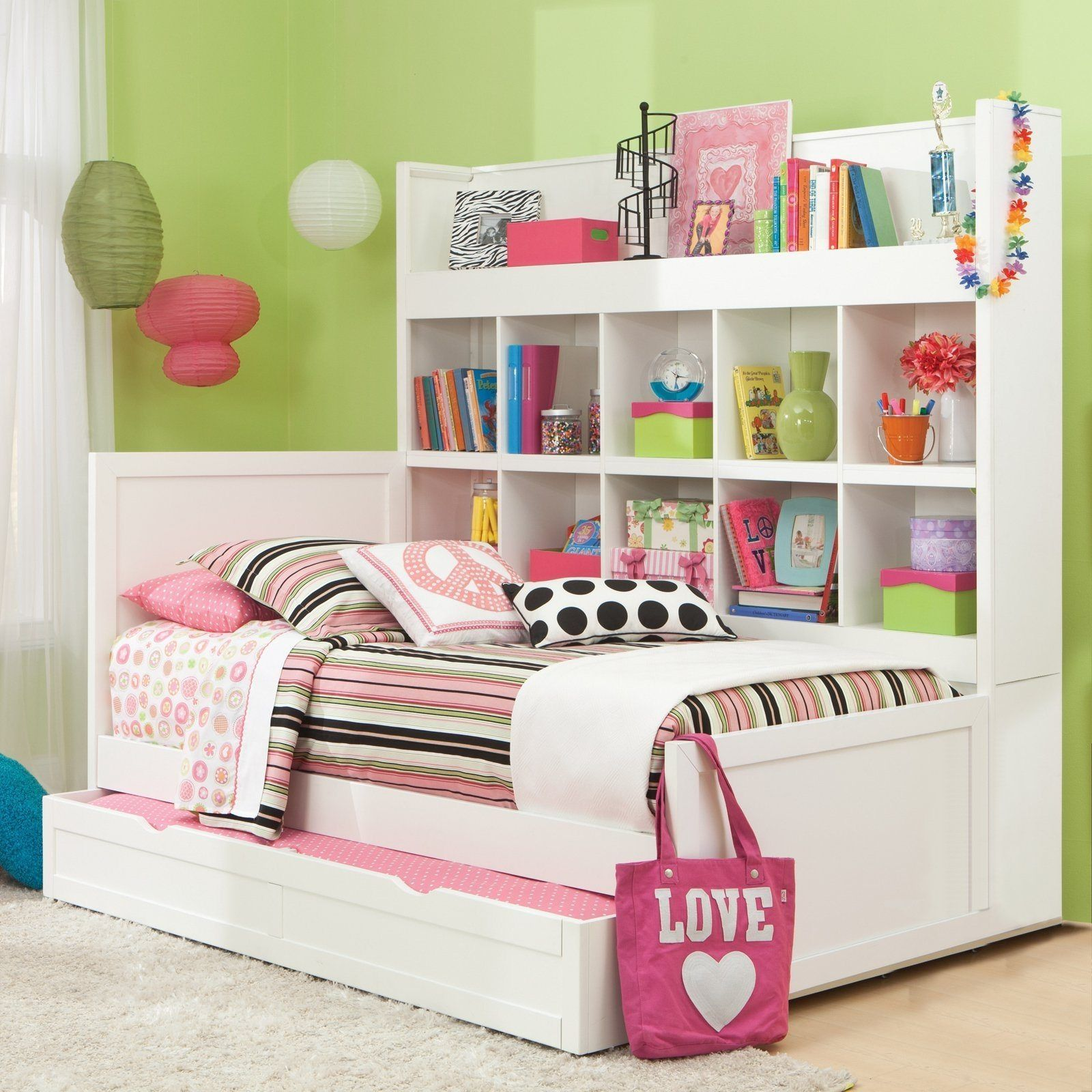 Girls White Trundle Bed With Storage Is Also A Kind Of Storage Beds For Girls Bookcase Bed Trundle Bed Girls