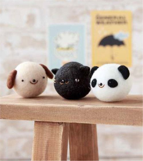 Felting Cleaner Series : DIY handmade Kittens, puppies and panda mascot trio Wool Felt kit -  Japanese kit package