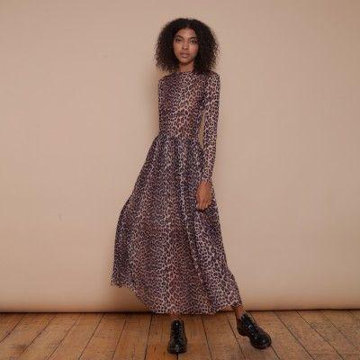 TILDEN MESH MAXI DRESS - LEOPARD PRINT