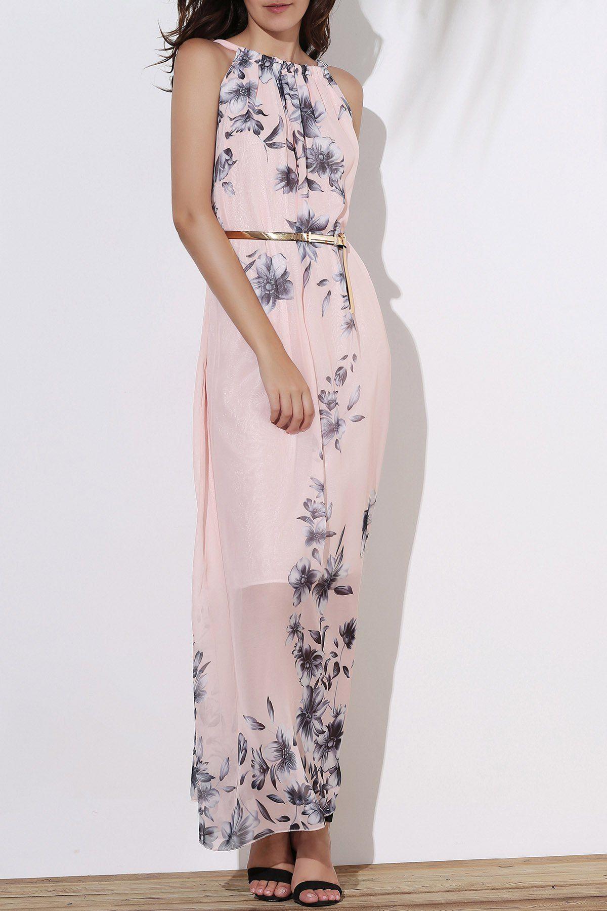 Floral long flowy semi maxi formal wedding dress semi formal