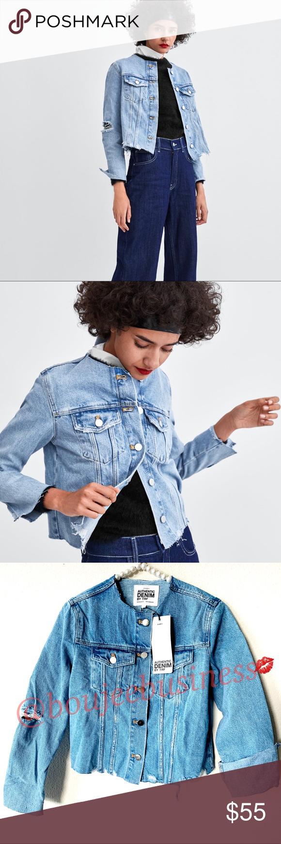 Zara Collar Less Denim Jacket Collarless Denim Jacket Denim Jacket Zara Denim Jacket [ 1740 x 580 Pixel ]