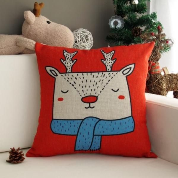 Red Decorative Pillows For Bed Christmas Deer Pattern Christmas Classy Red Decorative Pillows For Bed
