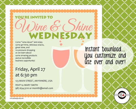 Wine and Shine Wednesday Instant Download Social by PDZDesigns – Scentsy Party Invitations