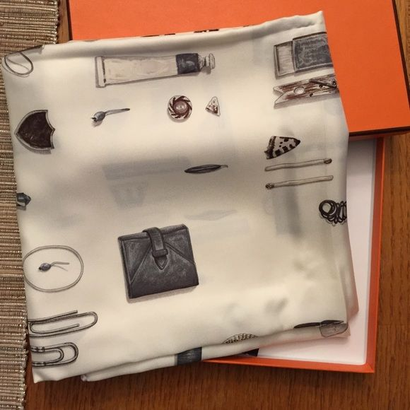 HERMES In The Pocket scarf 2007 Designed by Leigh Cooke. It's made in 2007. Had it since then and never touched. 90*90, in original orange box. Same pattern but in different color now selling for 395. Same listing sold on another website for 599 Hermes Accessories Scarves & Wraps