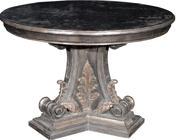 """RenID 3862 Product Detail: Beautiful center table on an intricately wood carved pedestal base accented with acanthus leaves in a ebonized and silver gilt finish, has age, approximately 40 years old Size: 47.5"""" Diameter, 32"""" Height Other Sizes and Finishes are available Price:$9,800"""