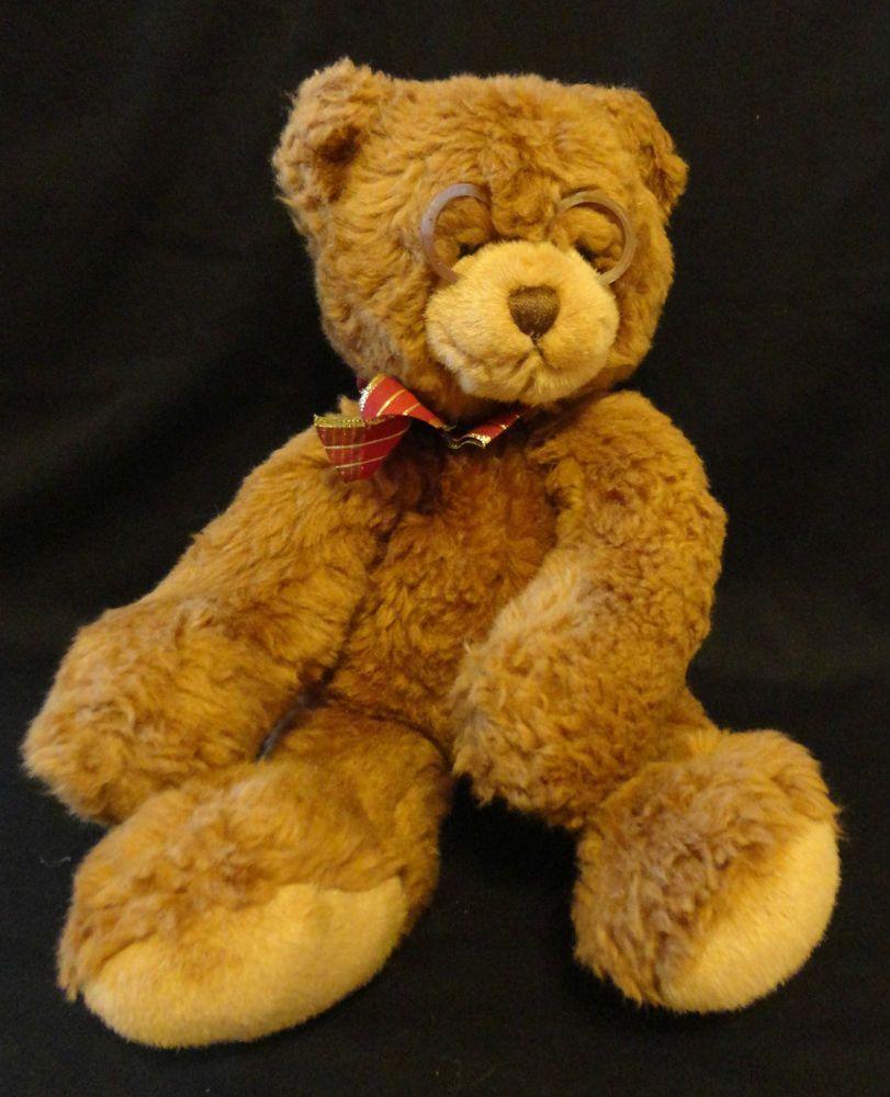 Gund BOOKER plush bear w glasses 44406 Brown Stuffed Animal Lovey Cute Face!