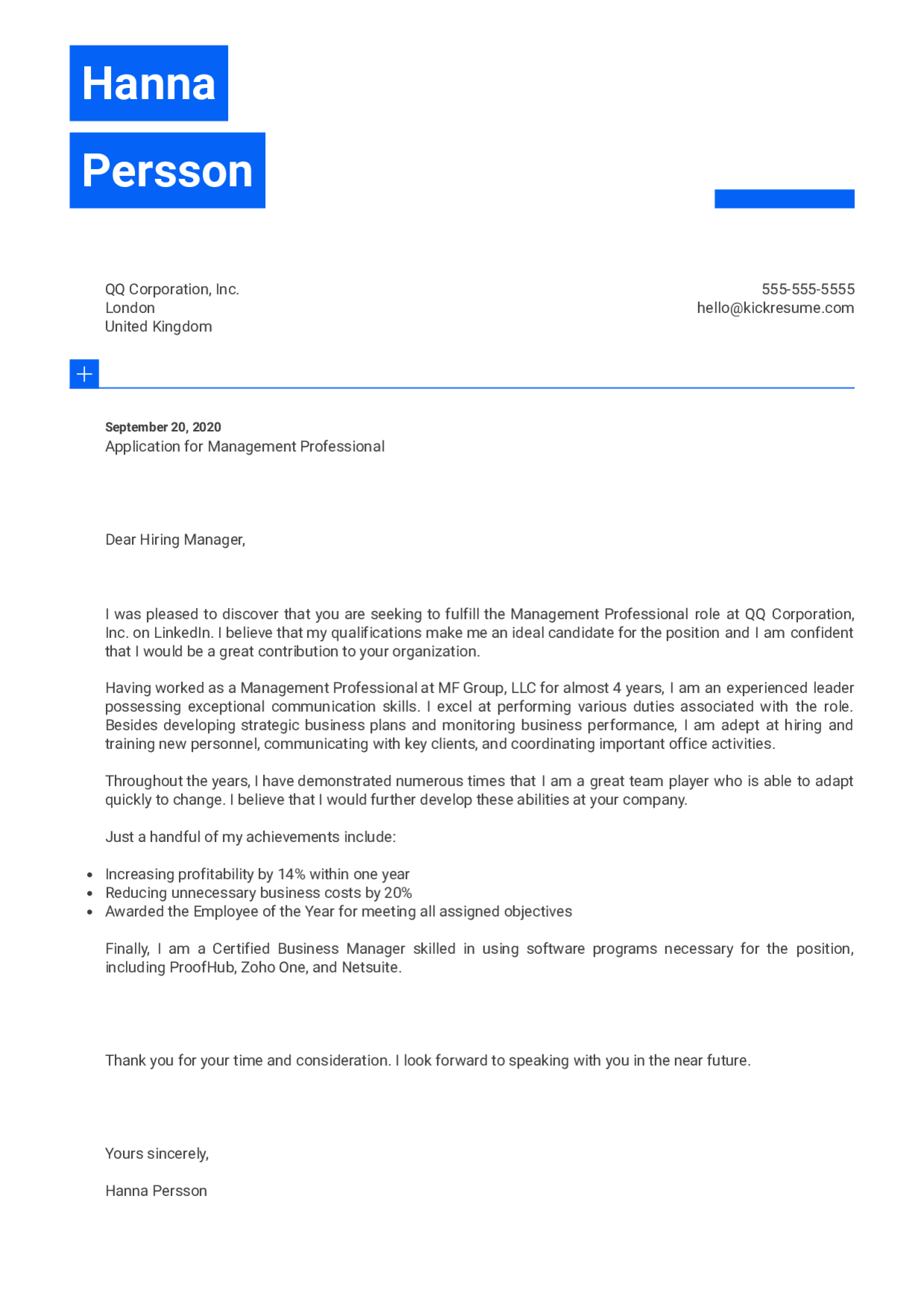 Management Professional Cover Letter Example Click To Edit This Template Professional Cover Letter Cover Letter Template Free Free Cover Letter