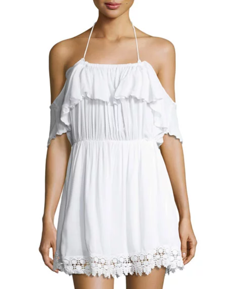 5e6ab6c8f6 White off-the-shoulder ruffle-top crochet-trim cover-up dress with halter  neckline