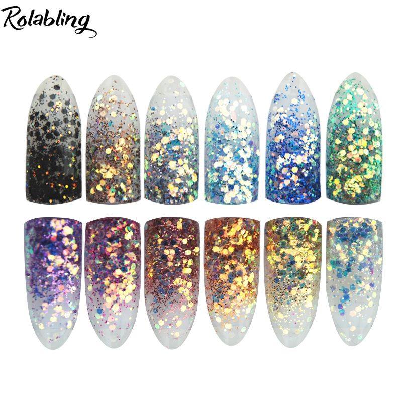 New High Gloss Nail Powder Metal Big Hexagon Strip Glitter Nail Art ...