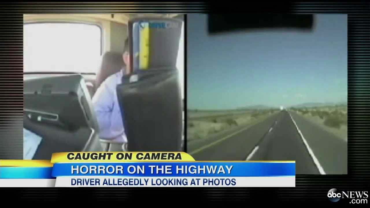 Dashcam Video Truck Driver Allegedly Looking at Phone at