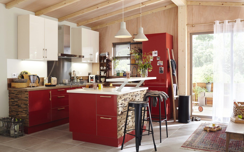 Une Cuisine Rouge Blanc Et Bois Meuble Cuisine Ilot Cuisine Meuble Cuisine Leroy Merlin