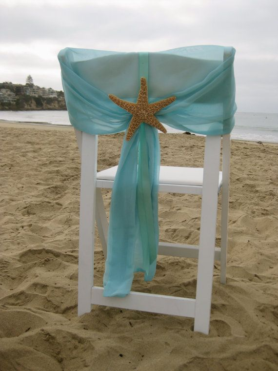 Set of 2 Beach Wedding Chair Caps with by SeashellCollection & Beach Wedding - Aqua Chiffon Chair Caps with Starfish or Sand ...